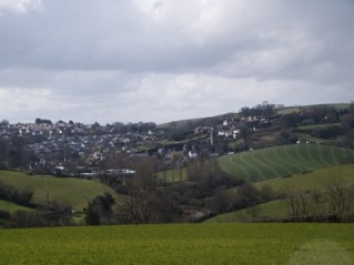Area-B .. present-day view from the general area of Brownscombe hills looking towards Marldon Village