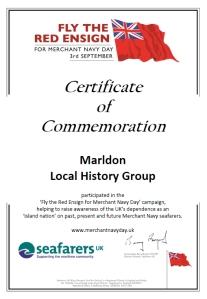 Merchant Navy Day certificate