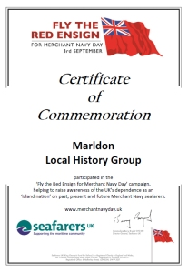 Merchant Navy Day certificate